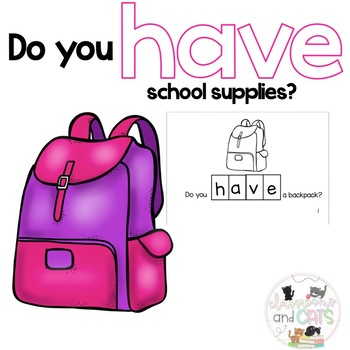 do you HAVE school supplies? Sight Word Reader