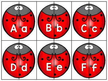 dollar deal: alphabet 2 part matching puzzle_upper to lower_ladybug theme