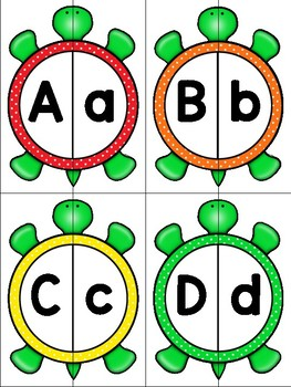 dollar deal: alphabet 2 part matching puzzle_upper to lower_turtle theme