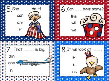 dollar deal: sight word task cards_patriotic theme