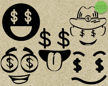 dollar eyes SVG cut files, DXF, vector EPS cutting file instant download