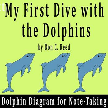 """My First Dive with the Dolphins"" by D. Reed - Dolphin Diagram for Notes"