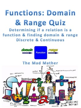 functions! domain and range quiz (graphs, tables, mappings, ordered pairs)