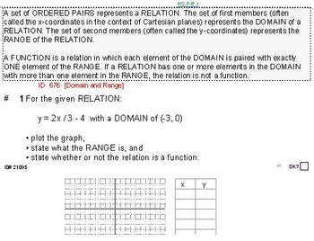Domains of HS FUNCTIONS UNIT: CONSTRUCTION problems (4 wor