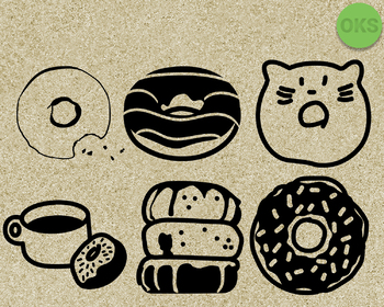 donuts SVG cut files, DXF, vector EPS cutting file instant download for cricut