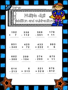 double digit addition and subtraction first and second grade