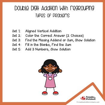 Double Digit Addition No Regrouping, Adding 2-Digit Numbers Without Regrouping