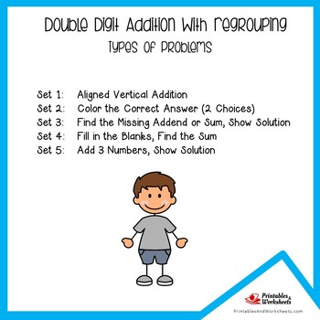 Double Digit Addition Regrouping Worksheets, Two Digit Addition Practice