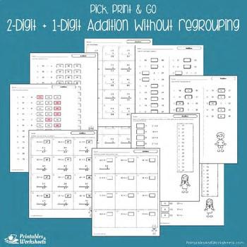 2 Digit Plus 1 Digit Addition Worksheets, Adding Center Sheets