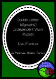 double letter ZZ FF SS LL NDEPENDENT phonics pack  VIC MOD CURSIVE