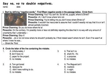 double negatives worksheet