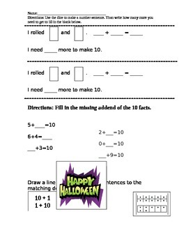 double ten frame and addition with missing addends assessment