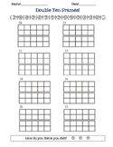 double ten frame math worksheet- double frames, 2 digit numbers