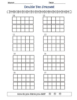 double ten frame math worksheet- double frames, 2 digit numbers by ...