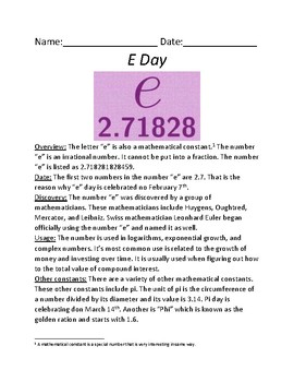 e Day - February 7 - mathematical constant overview history facts information