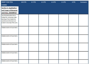 e RUBRIC for All Courses - fully editable - EMAIL YOUR RUBRICS save paper