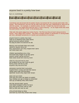 """e. e. cummings poem """"anyone lived in a pretty how town"""""""