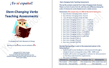 Stem-Changing Verbs Quizzes  Teaching Material