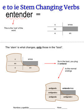 e to ie Stem Changing Verb Notes