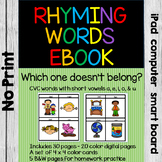 No Print Rhyming Words Activity & Rhyming Words Task Cards