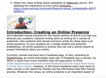 ePortfolio Project - Student Introduction, Objectives, and Activities