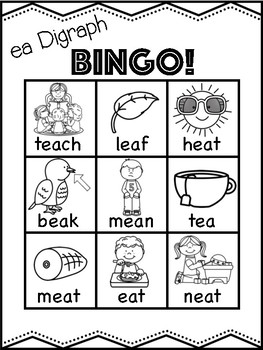 ea Vowel Digraph Bingo [10 playing cards]