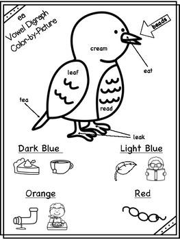 ea Vowel Digraph Color-by-Picture