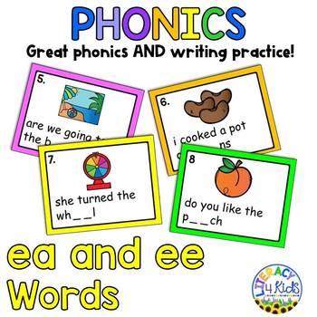 Sentence Editing Task Cards (ea and ee Words) for First and Second Graders