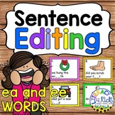 Sentence Editing Task Cards (ea and ee Words) for First an