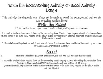 ea, ee, e_e write the room or scoot activity