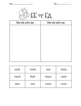 ea / ee word sort