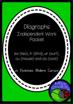 ea ir ur oa (coat) ou (mouse) DIGRAPHS INDEPENDENT phonics pack  VIC MOD CURSIVE