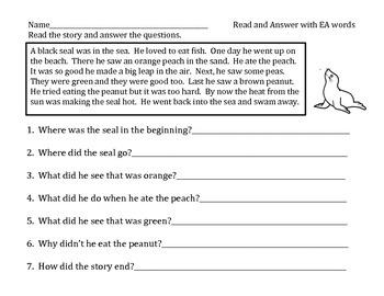 ea word  long vowel digraph practice