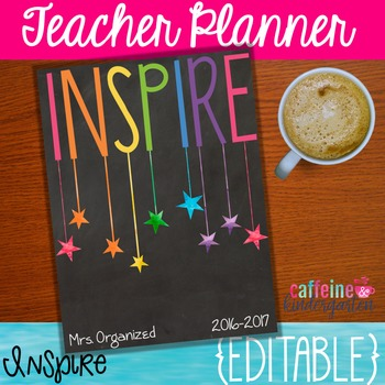 Teacher Planner - Editable Inspired Chalkboard Planner with Yearly Updates