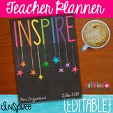 Teacher Planner - Editable Inspired Chalkboard Planner wit