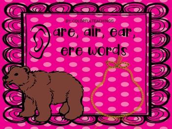 ear, air, ere words