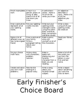early finisher's choice board