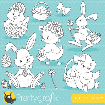 easter bunny chicks stamps commercial use, vector graphics, images - DS643