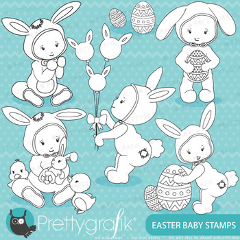 easter baby stamps commercial use, vector graphics, images - DS645