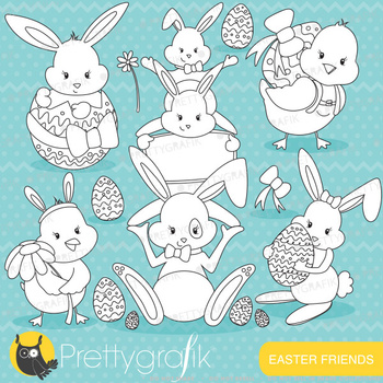 easter bunny stamps commercial use, vector graphics, images - DS642
