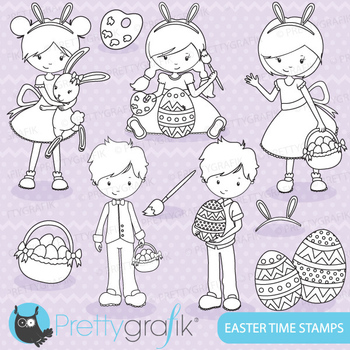 easter kids stamps commercial use, vector graphics, images - DS641