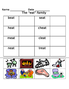 eat word family worksheets