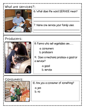 economics: goods and services {PEBBLEGO RESEARCH}[picture and no picture BUNDLE]