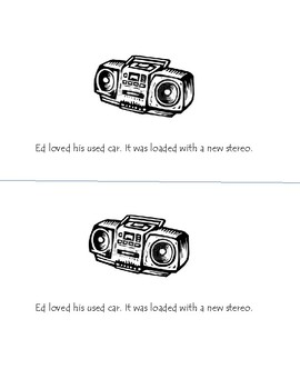 ed Ed's Car Phonogram Early Emergent Reader Book