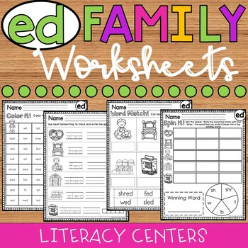 ed Word Family Worksheets