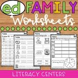 ED Word Family Worksheets - ED Family Worksheets - ED Worksheets