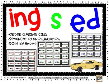 ed, s, ing sort and alphabetize