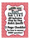 edTPA Early Childhood Complete Checklist for all 15 Rubrics: Goal Level 3/4