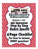 edTPA Elementary Education Complete Checklist for Task 1-4*