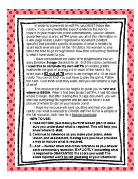 edTPA Elementary Literacy Complete Checklist for all 15 Rubrics: Goal Level 3/4